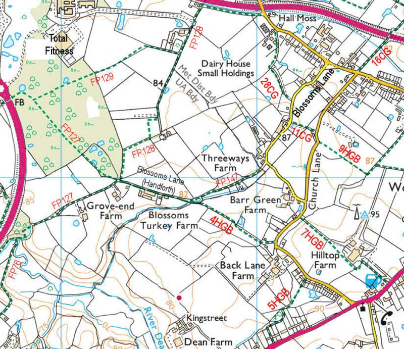 Maps of footpaths in west Woodford and Handforth