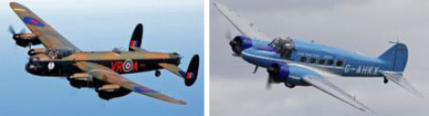 Avro Lancaster and Avro Anson which will fly past the museum at the Avro Air Fair in August 2017