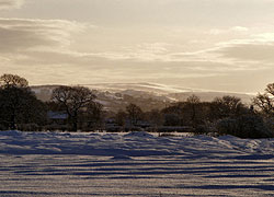 A photo of distant hills from Woodford, Cheshire taken by Evelyn Frearson