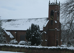 A snow view of Christ Church in Woodford, Cheshire taken by Ruth Jones