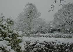 A photo of a snow scene in Woodford, Cheshire