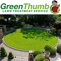 GreenThumb logo and treated lawn