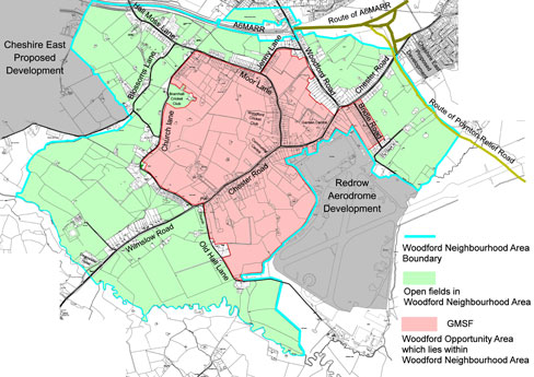 GMSF and CEC proposed development around Woodford Map