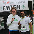 Runners at the finish of the Woodford 10K run
