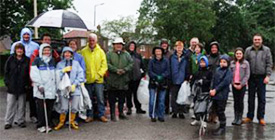 A photograph of Woodford Residents who took part in the Clean Up Woodford Day