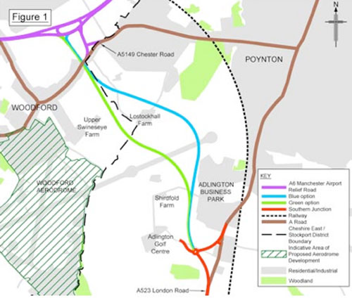 Poynton Relief Road route map June 2014