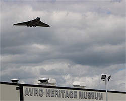 Vulcan bomber flying of Avro Heritage Museum